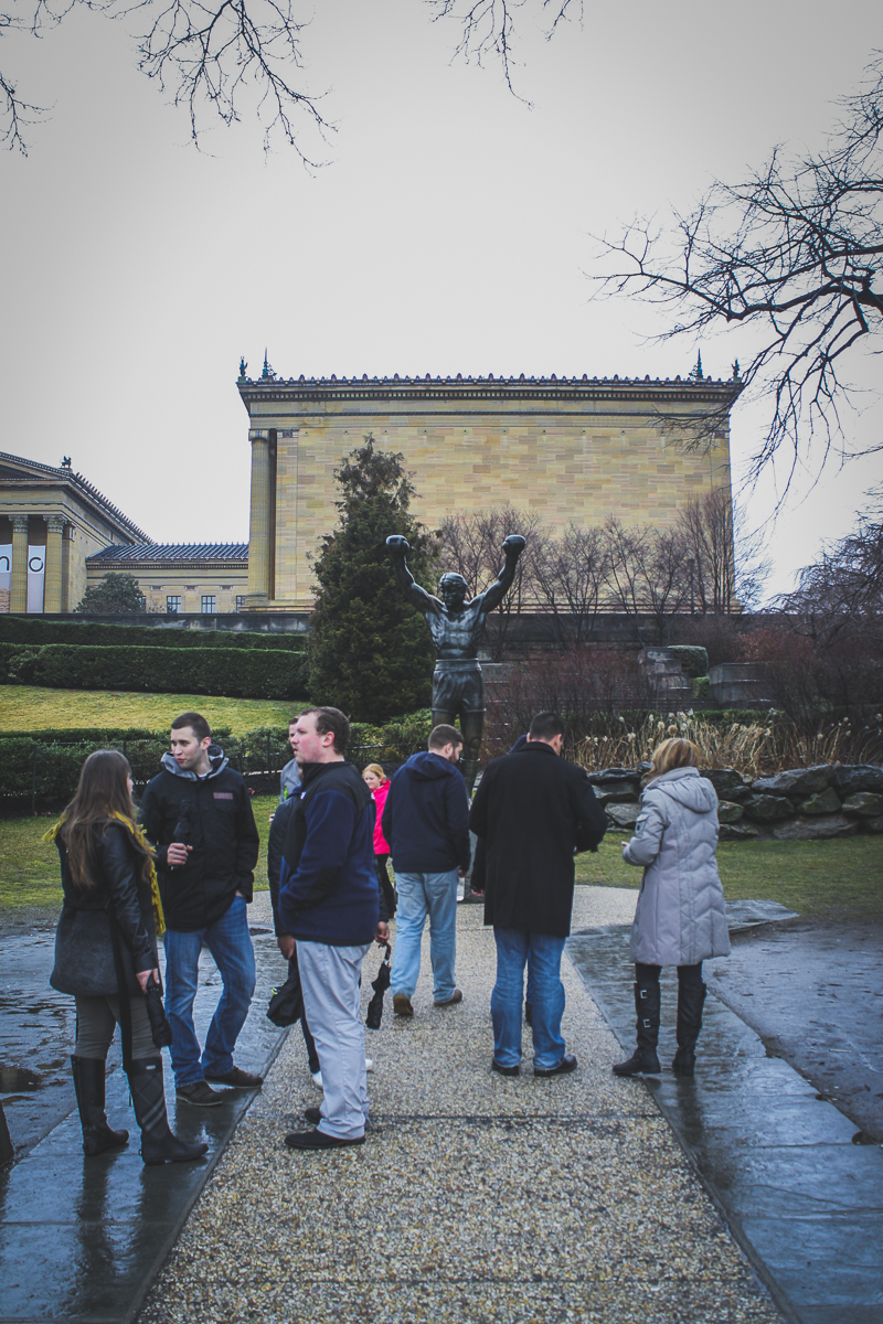 The line to take a photo with the Rocky statue.