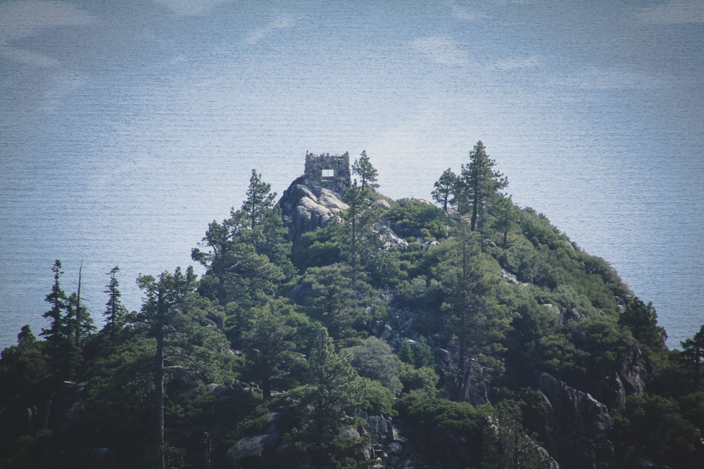 A close-up of the tea house perched atop Fannette Island. The original plan was to rent kayaks and row there but it was not possible after our time was cut short.