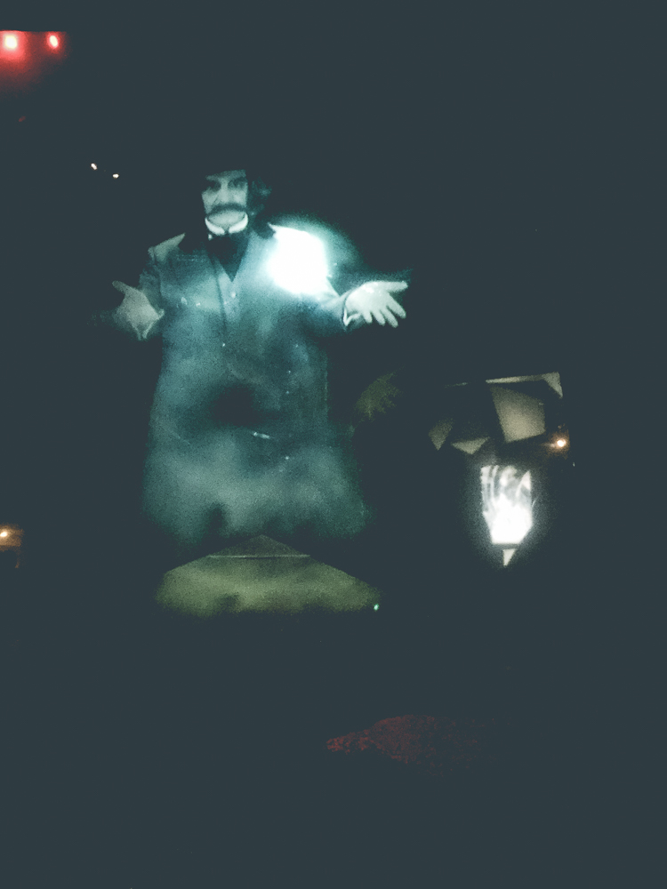 """This affable apparition was the ghostly """"Distillery Manager"""" who floated about while explaining the process of whisky distilerration."""