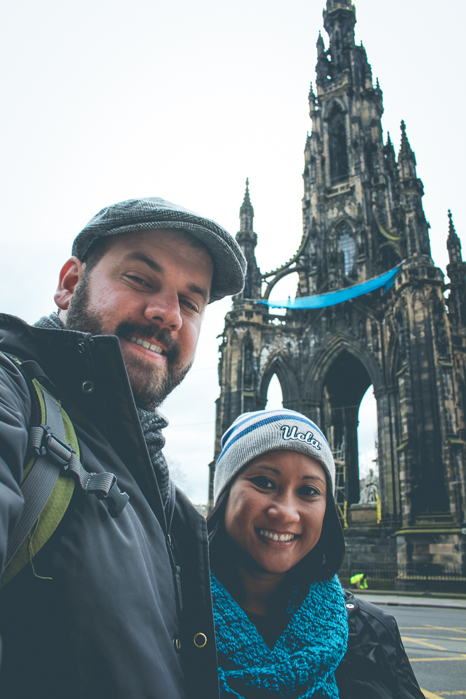 Cindy and I in front of the  Scott Monument , a 200 foot tall structure, proudly the largest monument to a writer in the world.
