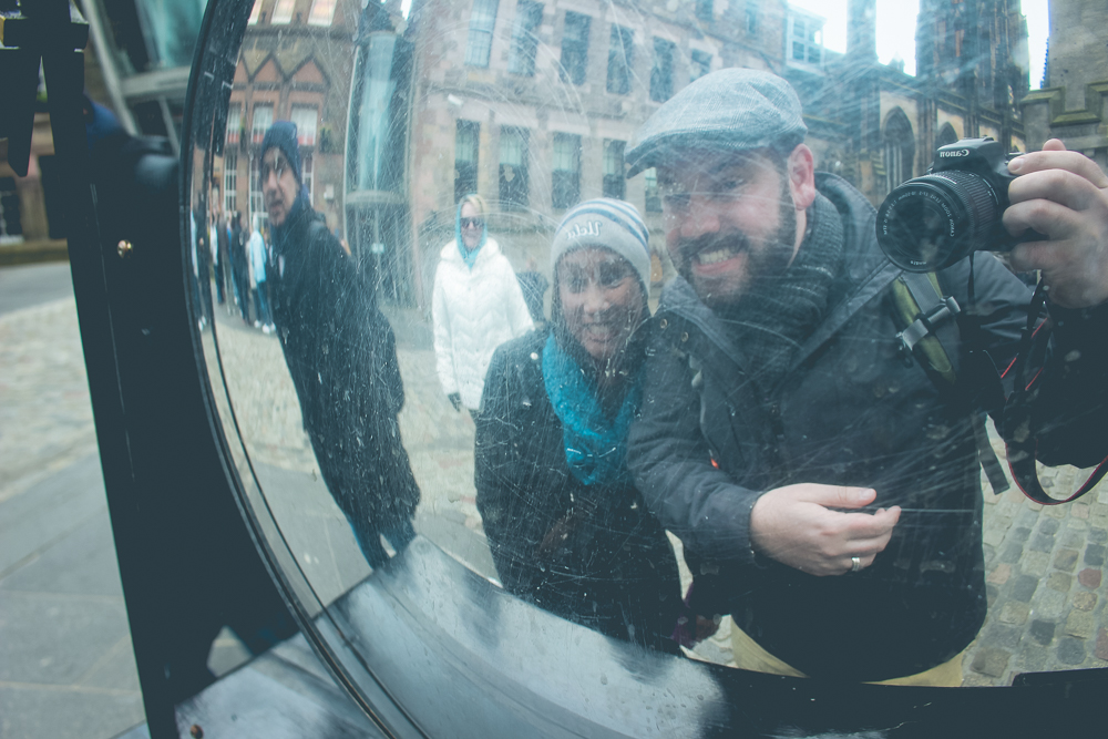 We ended up not visiting the  Camera Obscura  tourist attraction. We did, however, grab our photo in front of it!
