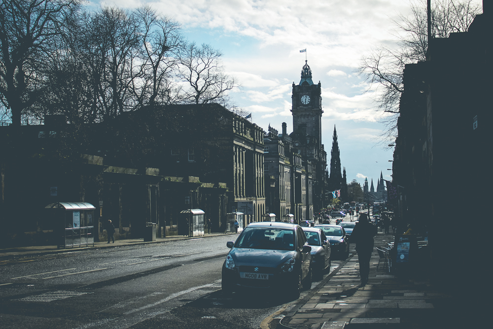 Walking back down Princes Street towards our hotel.