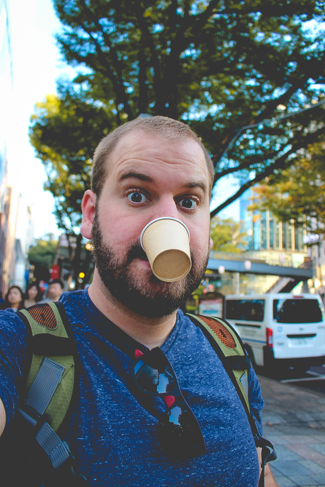 They were giving free coffee samples, so I took one! Problem is, there aren't a lot of public trashcans in Japan but littering is unacceptable (for me, too, I swear.)  This little cup and I became friends.