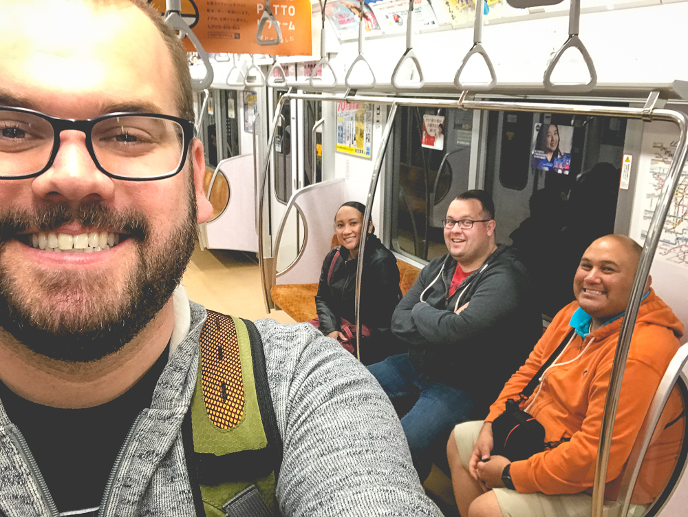 On the subway, being tourists.