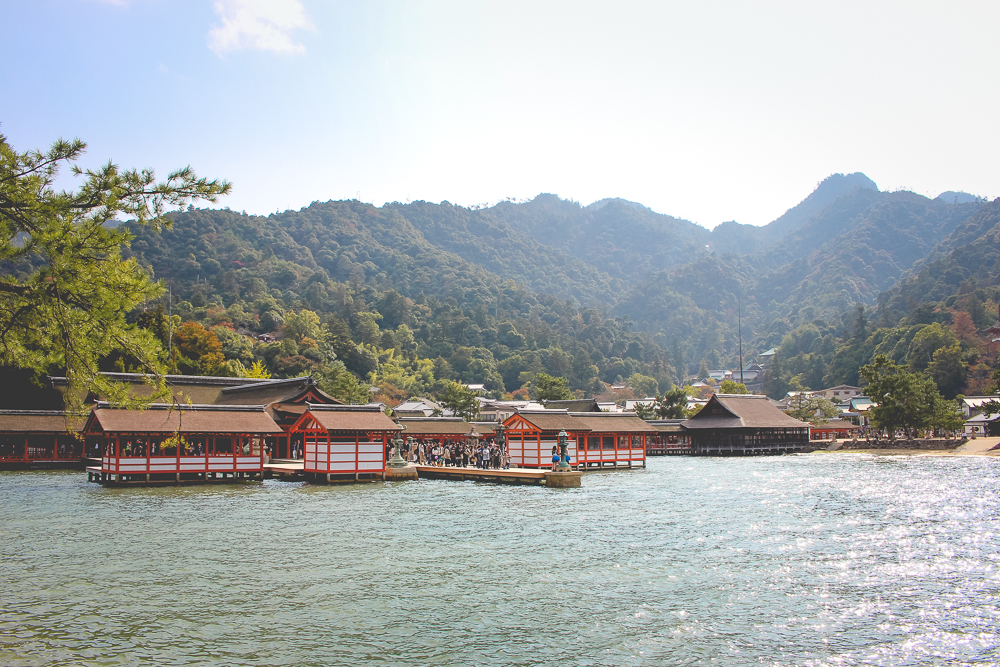 A view of the actual Itsukushima Shrine, from the island.