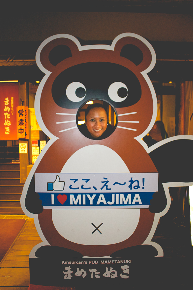 Out to dinner. And yes, we heart Miyajima!