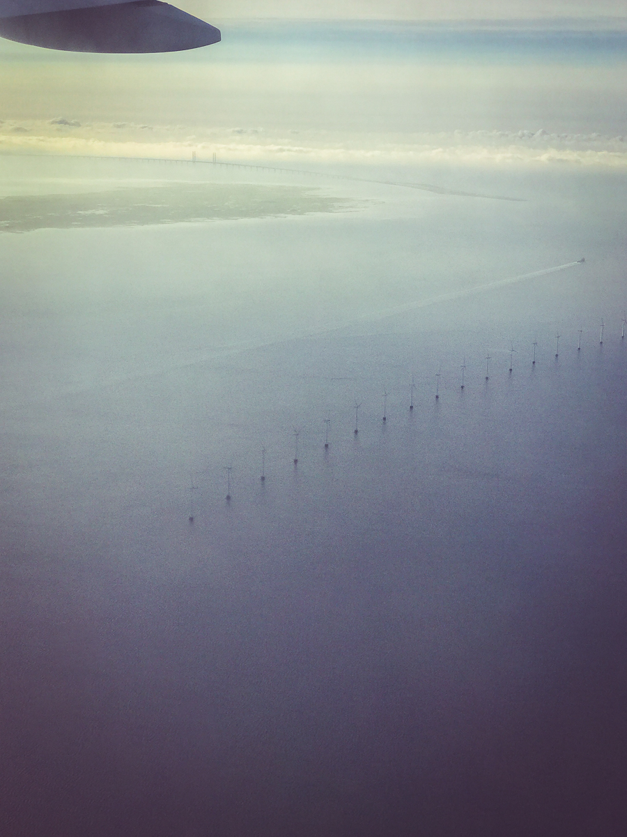Coming into the Copenhagen Airport, we could see a fleet of Denmark's wind turbines over the sea.
