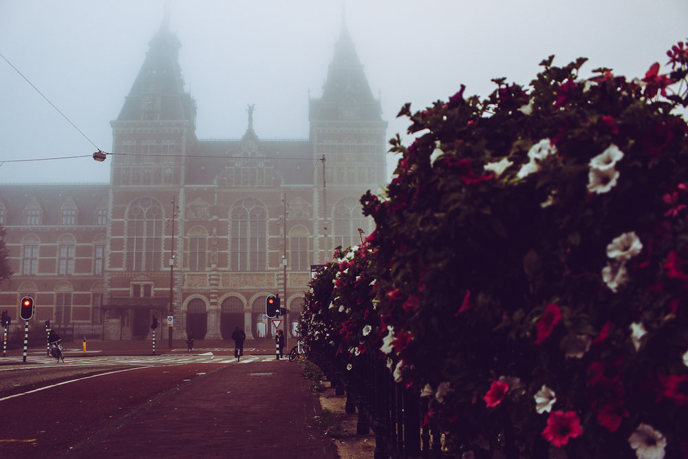 The Rijksmuseum looking creepy in the fog.