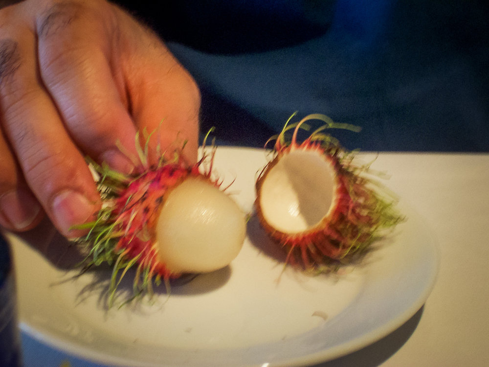 A close-up of the rambutan.