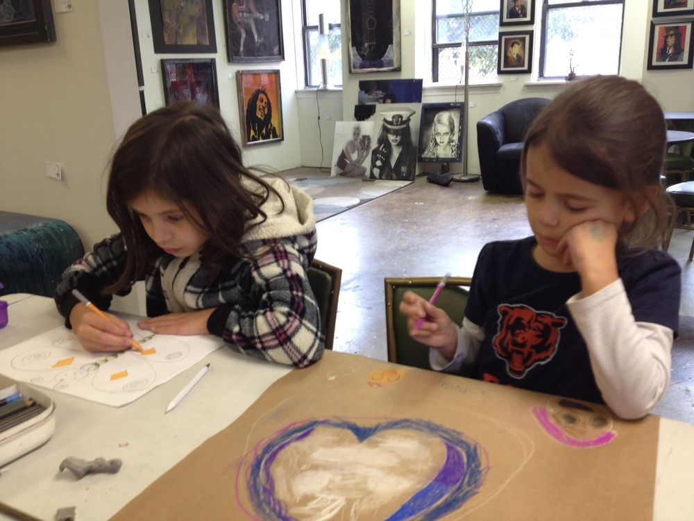 Bella & Sophia, our focused little creatives.