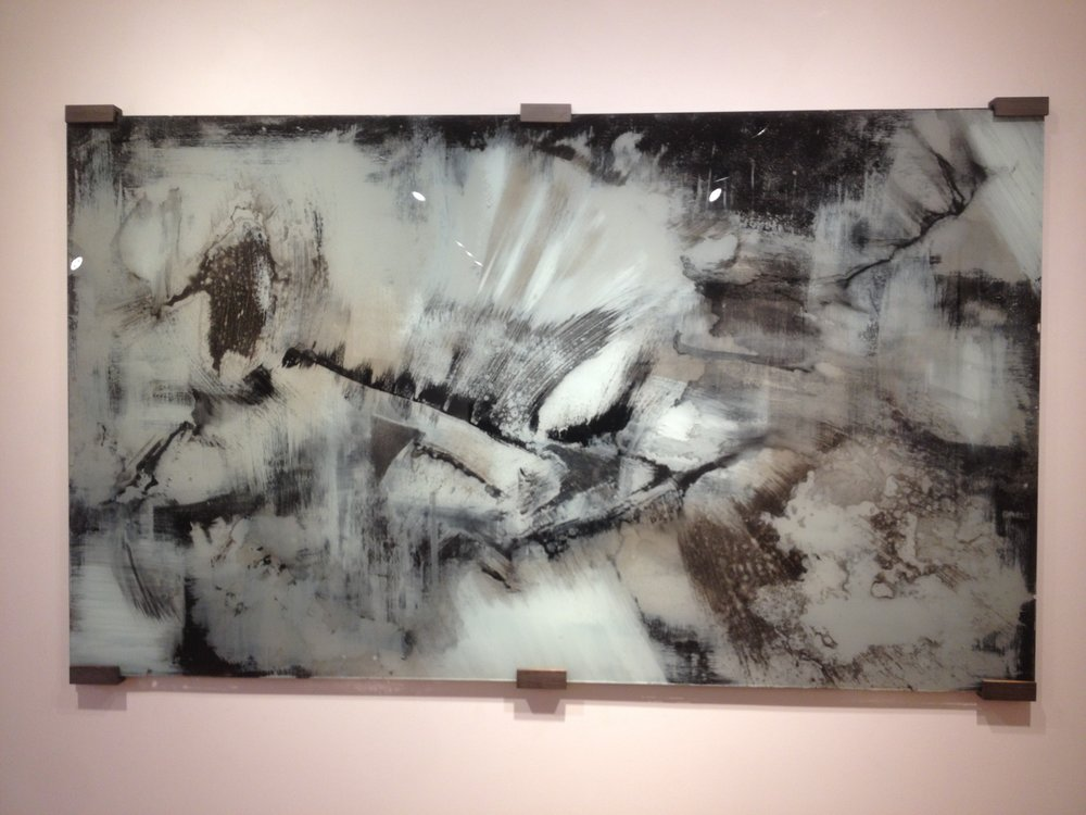 "Black and White mixed medium painting on glass 58"" x 20"""