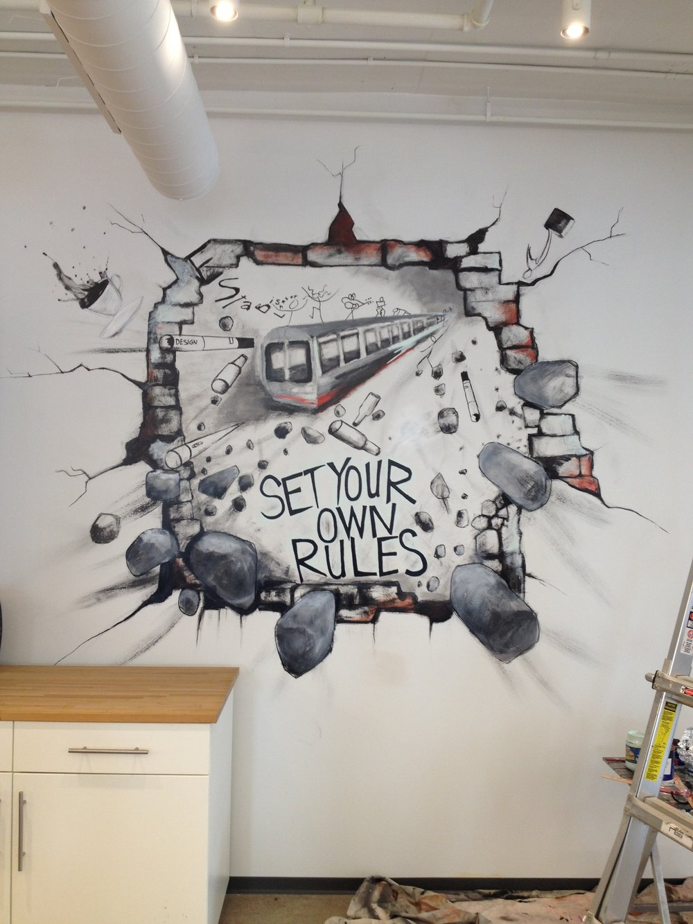 "Wall Mural at Jacob's Design Agency in Chicago. ""Set your own Rules"" Acrylic on Drywall  10' x 10'"