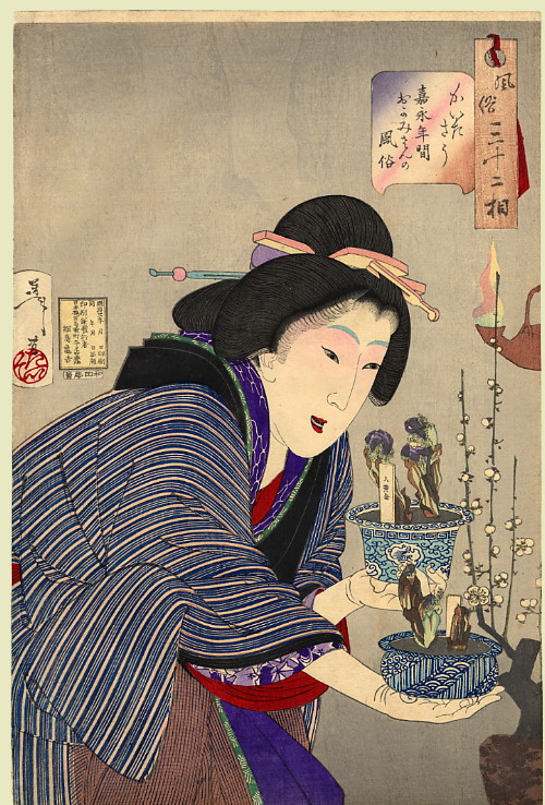 A shima pattern featured in a woodblock painting