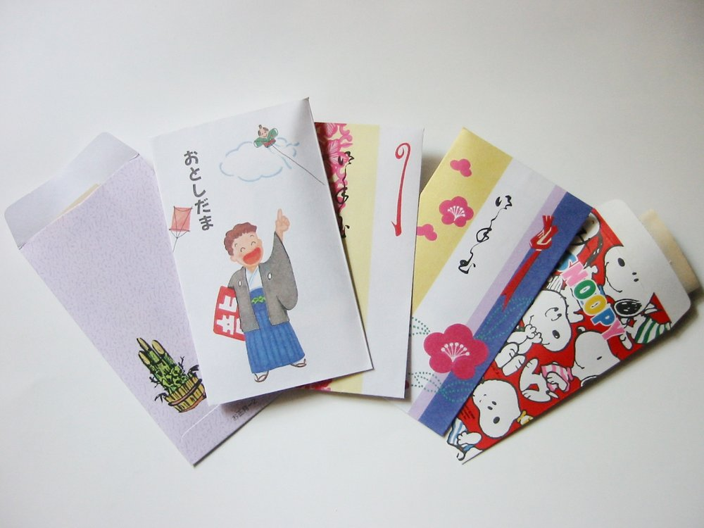 Colorfully decorated otoshidama envelopes.
