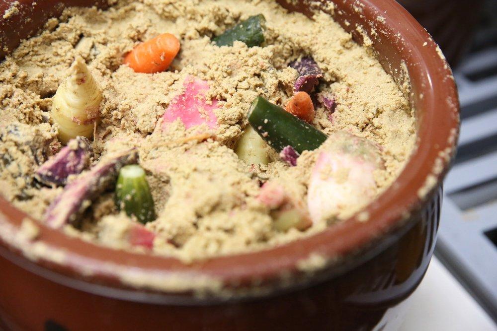 Vegetables are pickled in rice bran or sake lees to make  tsukemono.  ©TOKI