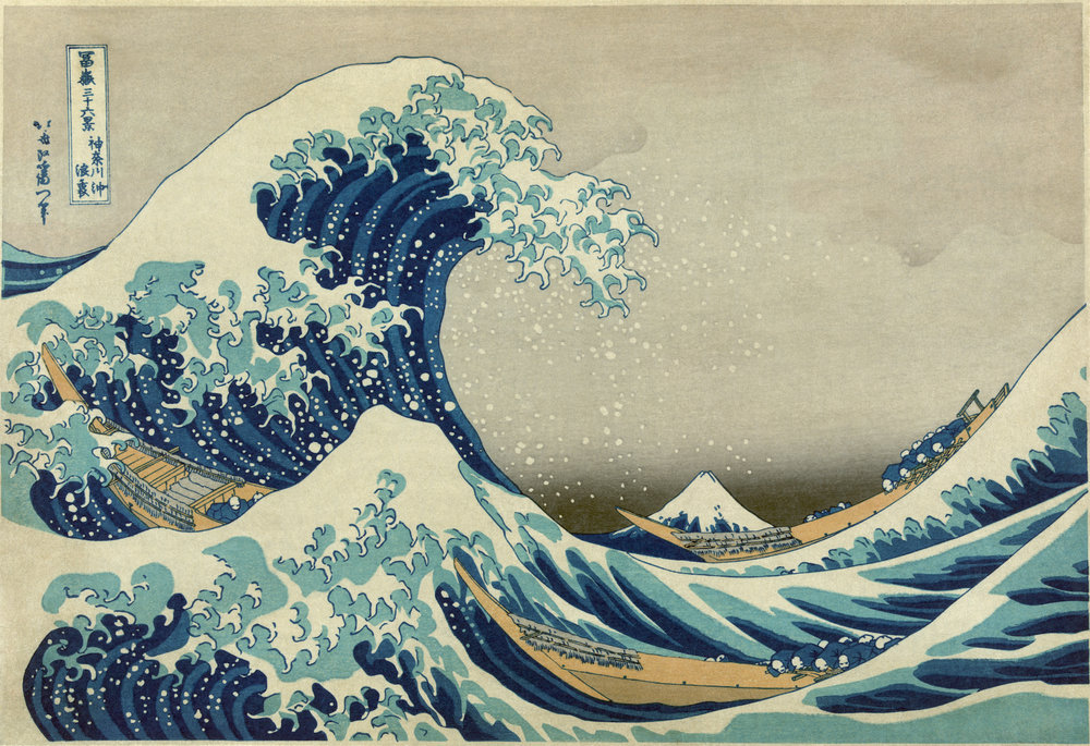 The Great Wave off Kanagawa from a Series of Thirty-Six Views of Mount Fuji (1831-33) by Katsushika Hokusai. Known as one of the preeminent Japanese prints in the world, here the artist casts a traditional landscape theme in a bold and imaginative way.