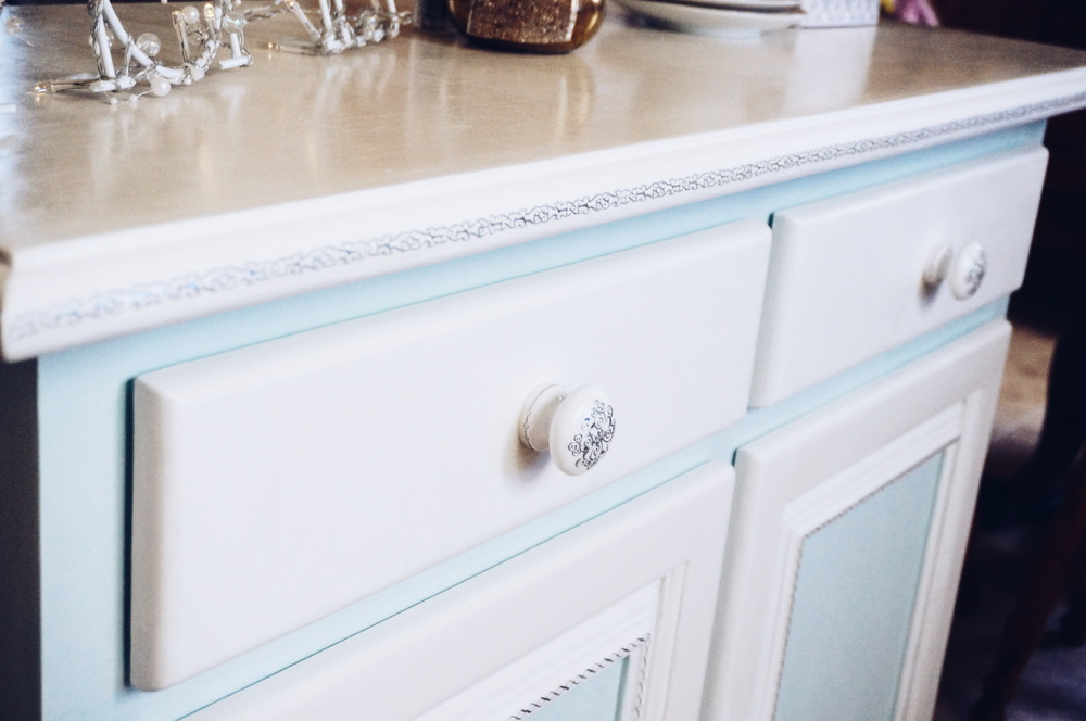 From drab to fab, beautiful pale blue bureau