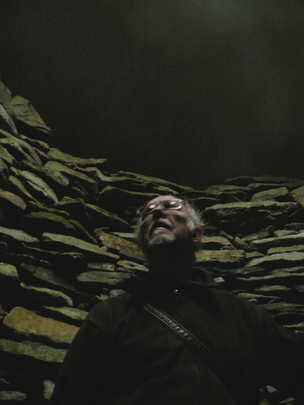 Alex Dunn in Camster Chambered Cairn, Caithness; taken by Michel Faber
