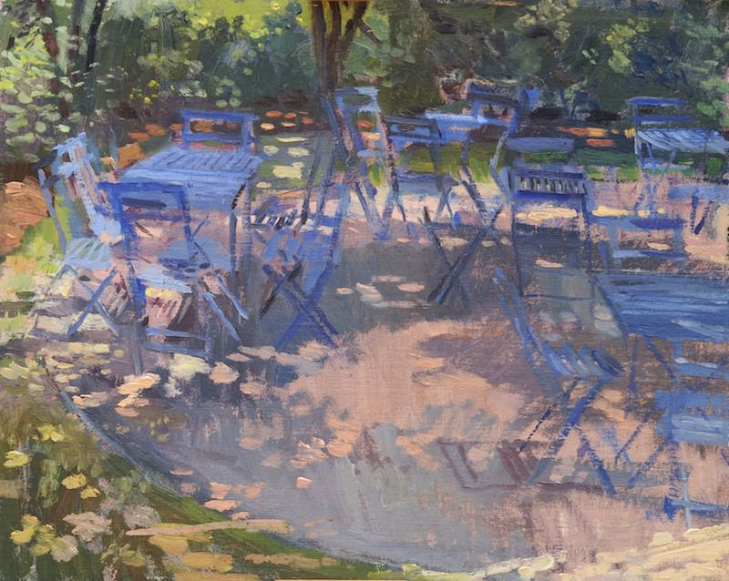 Blue Garden Chairs in Dappled Light