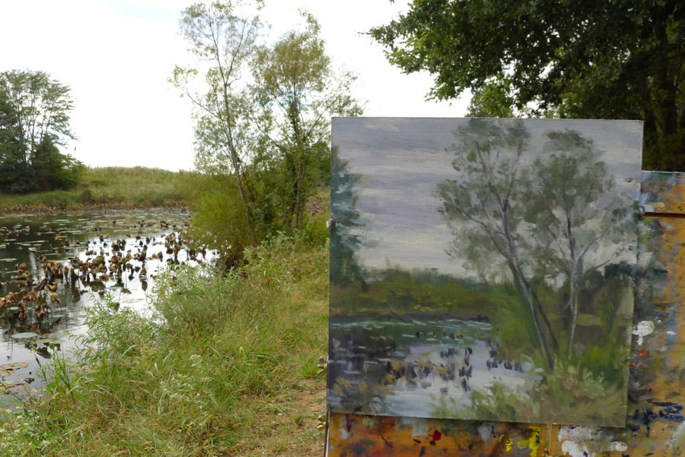 Painting along the Lily Pond at Shelby Farms