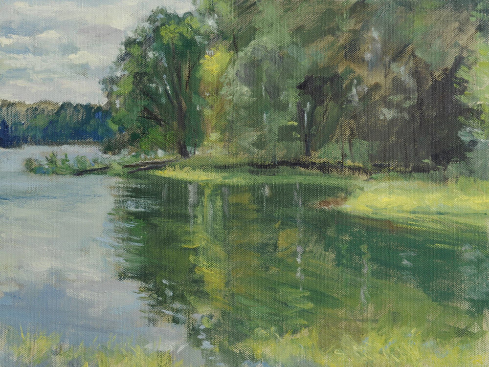 Reflections along Herb Parsons Lake, Eads, TN. 12 x 16 Inches, oil on linen.