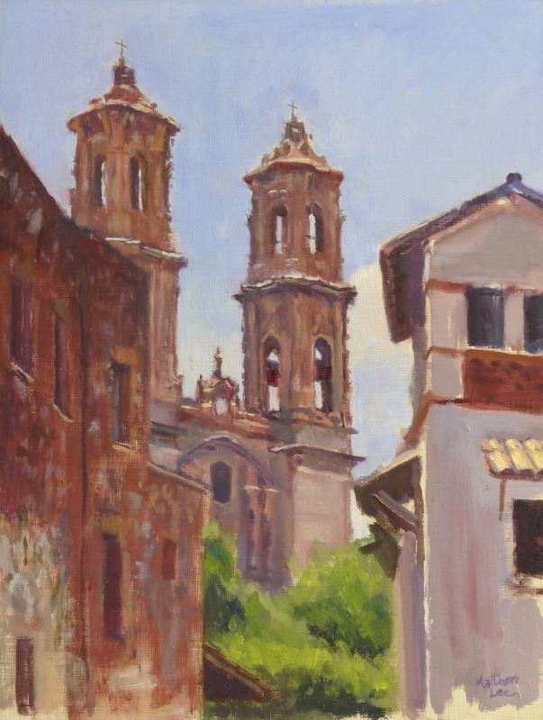 Church of Santa Prisca, Taxco, Mexico. Oil on Linen, 12x16 inches.