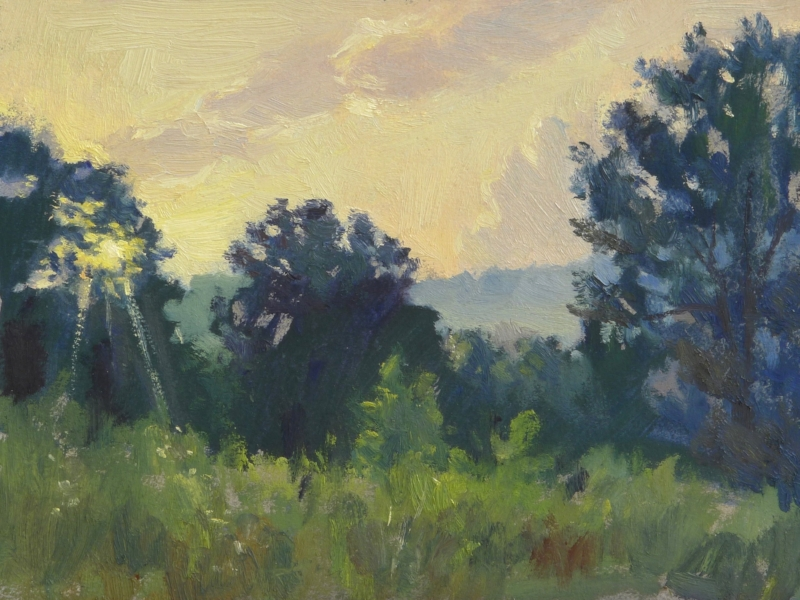"Kentucky Sunrise. I painted this on location near Berea, KY. I was attending a workshop there on how to build ""timber frame"" houses…. and got up early to paint before the workshop. 9x12 inches, oil on linen."