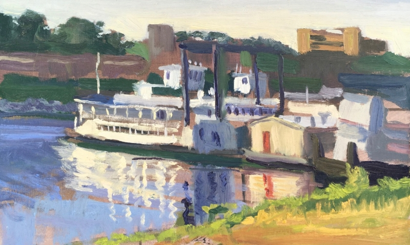 Riverboats at dusk in the Memphis Harbor. 10x16 oil on linen.