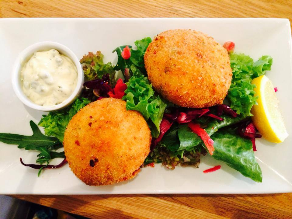 Lemon tree fishcakes, lemon caper mayo and house salad.jpg