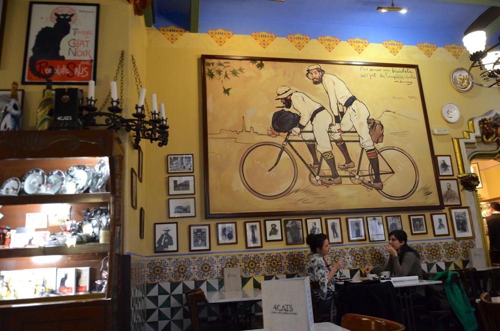 Na parede o quadro de Ramón Casas: Ramón Casas y Pere Romeu en Tàndem