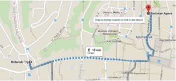 mapinha da praça até o restô: google maps
