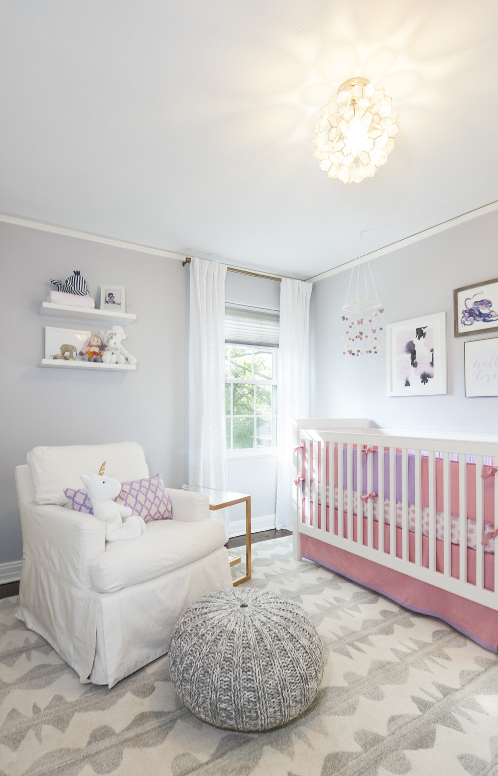Alexis Pearl Design | Nursery, girl, pink and grey, modern, Crate and Barrel Hathaway glider, Land of Nod pouf, floating shelves