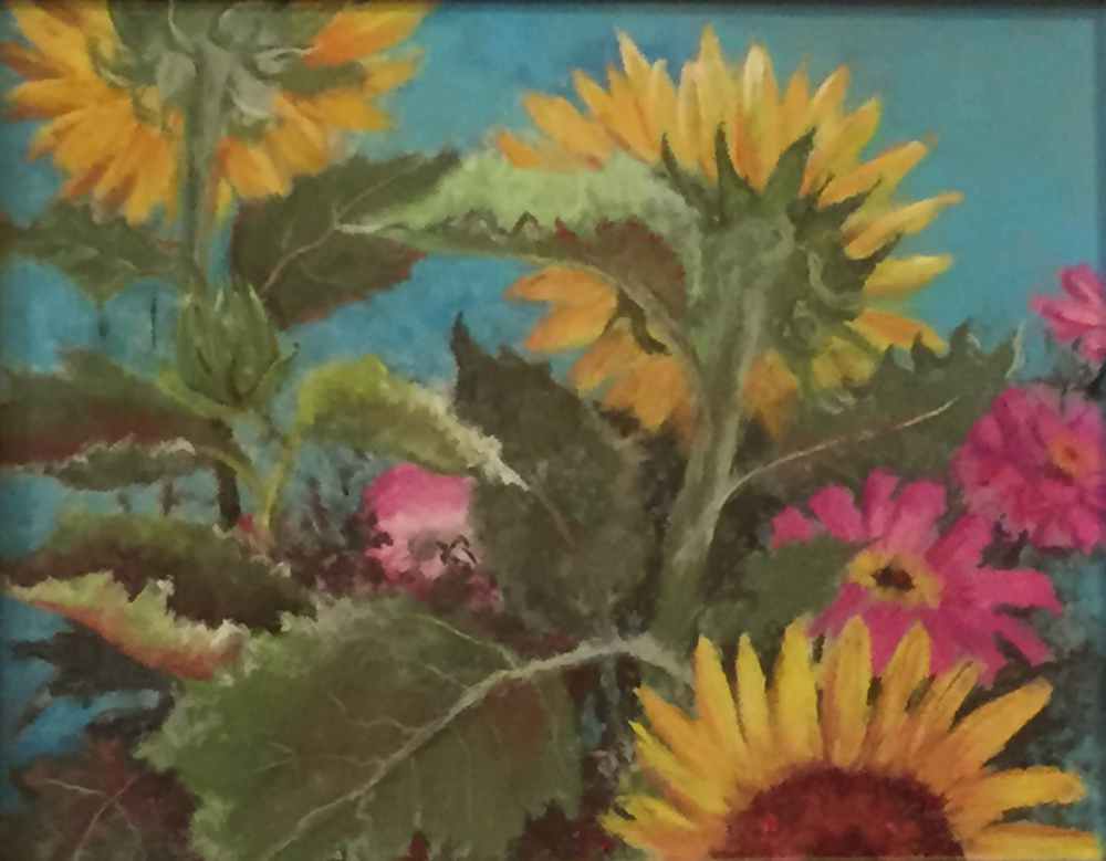 Sunflowers by Pat Kerns.  Pat's painting received a Second Place Award.