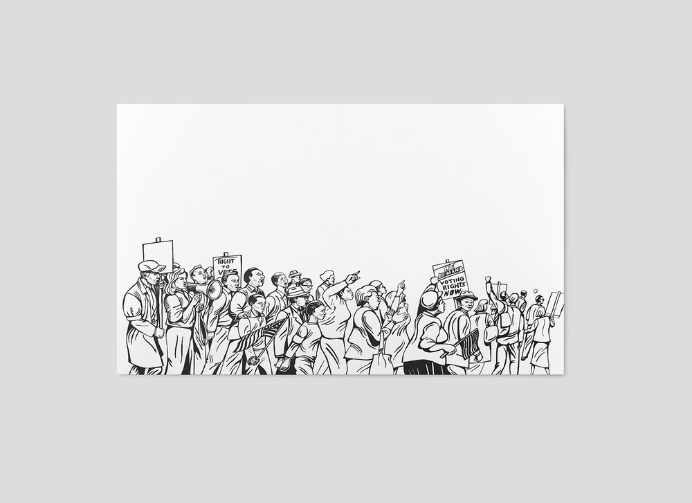 DETAIL: UP-CLOSE SKETCH OF MARCHERS AND PROTESTERS - UNCOLORED - DIGITALLY COLORIZED FOR FINAL PIECE