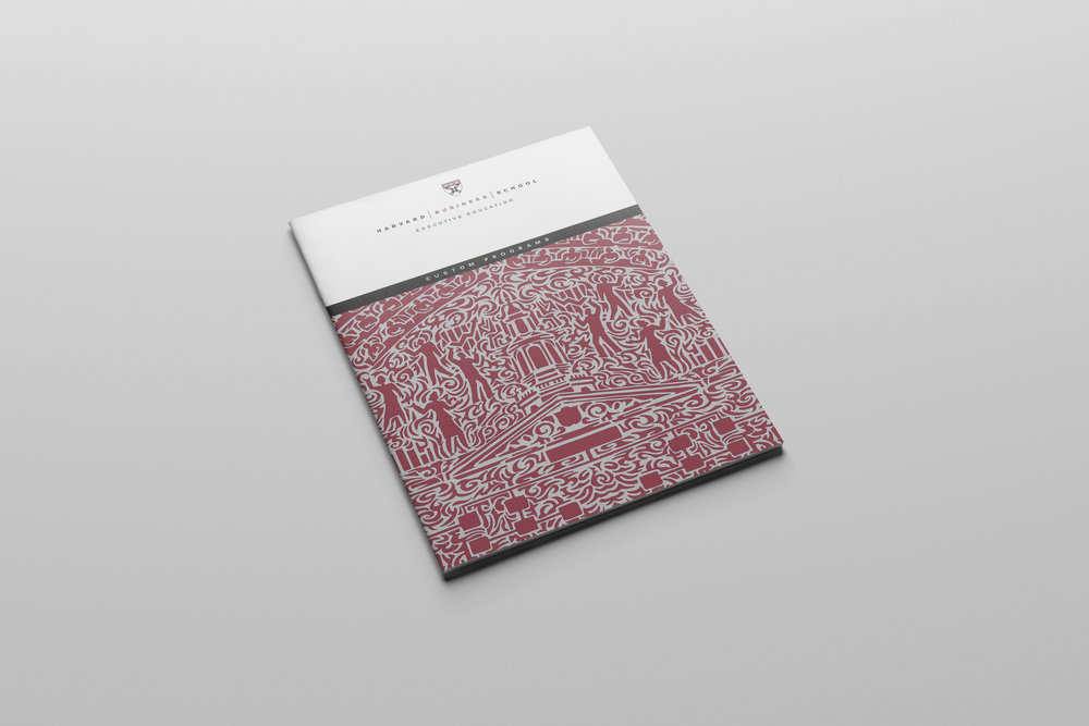HAND DRAWN PATTERN-STYLE ILLUSTRATION ON THE COVER OF HARVARD BUSINESS SCHOOL PAMPHLET