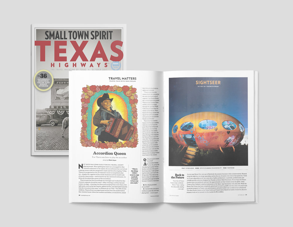 FINAL ILLUSTRATION OF EVA YBARRA'S EDITORIAL PORTRAITURE AS APPEARED IN TEXAS HIGHWAYS'PUBLICATION