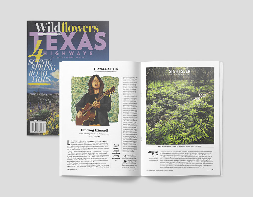 FINAL ILLUSTRATION OF LUKAS NELSON EDITORIAL PORTRAITURE AS APPEARED IN TEXAS HIGHWAYS' PUBLICATION.