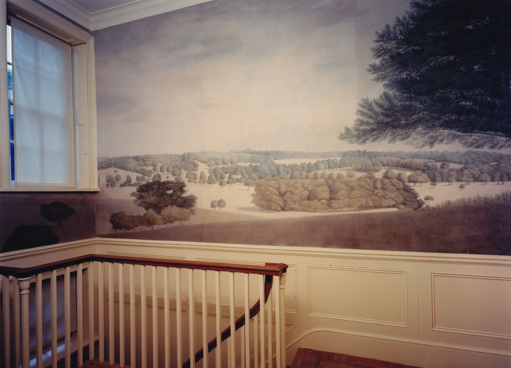 A scenic mural based on a watercolour by Paul Sandby.The Albany, Piccadilly. Distemper on canvas