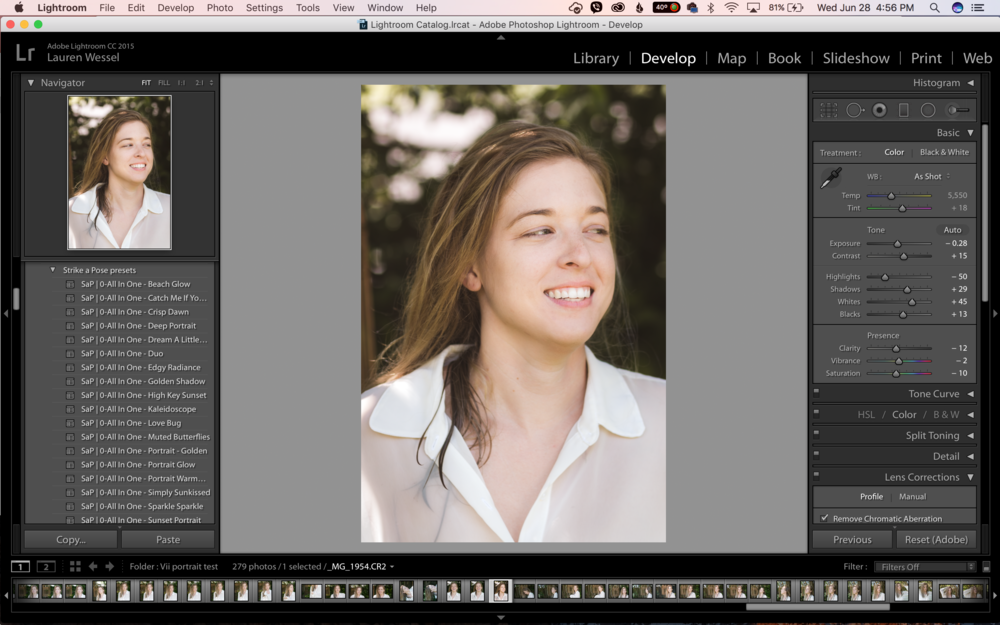 Here's a screenshot of the portrait test edited with the Strike a Pose workflow in Lightroom.