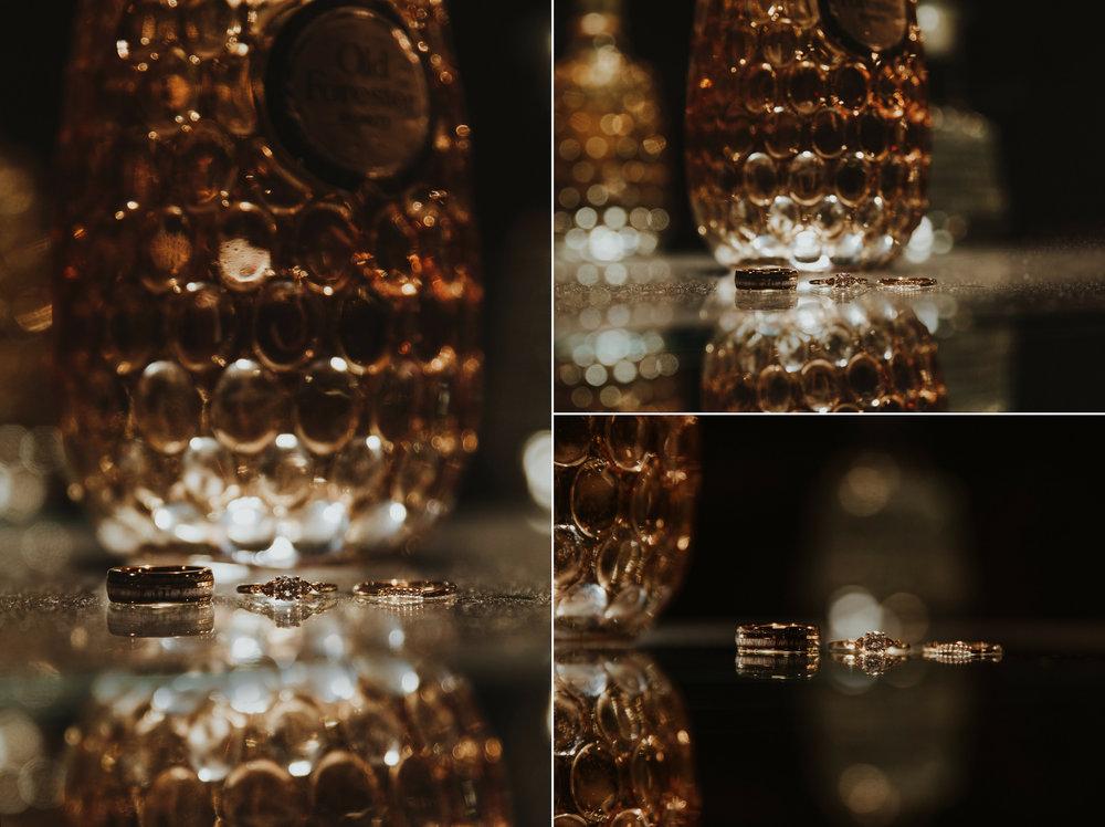 Bourbon bottle wedding ring details