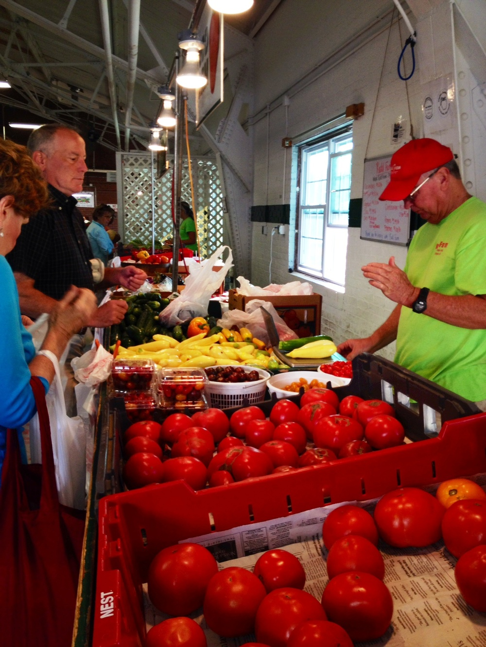 Weighing the goods for John's version of ratatouille at the Piedmont Farmer's Curb Market.