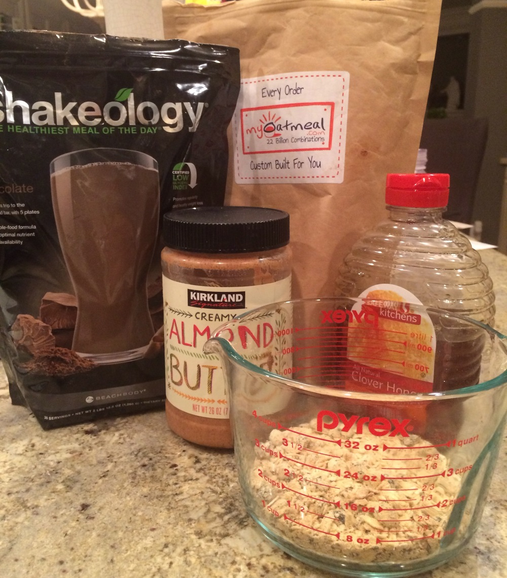 Only four ingredients for the chocolate no bake Shakeology balls.