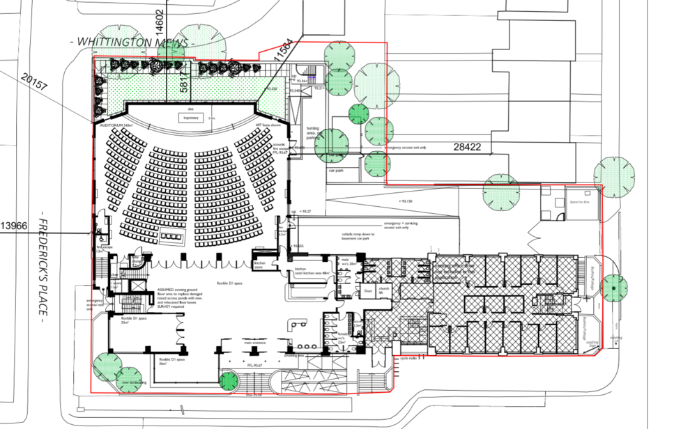 Ground floor plan showing new auditorium