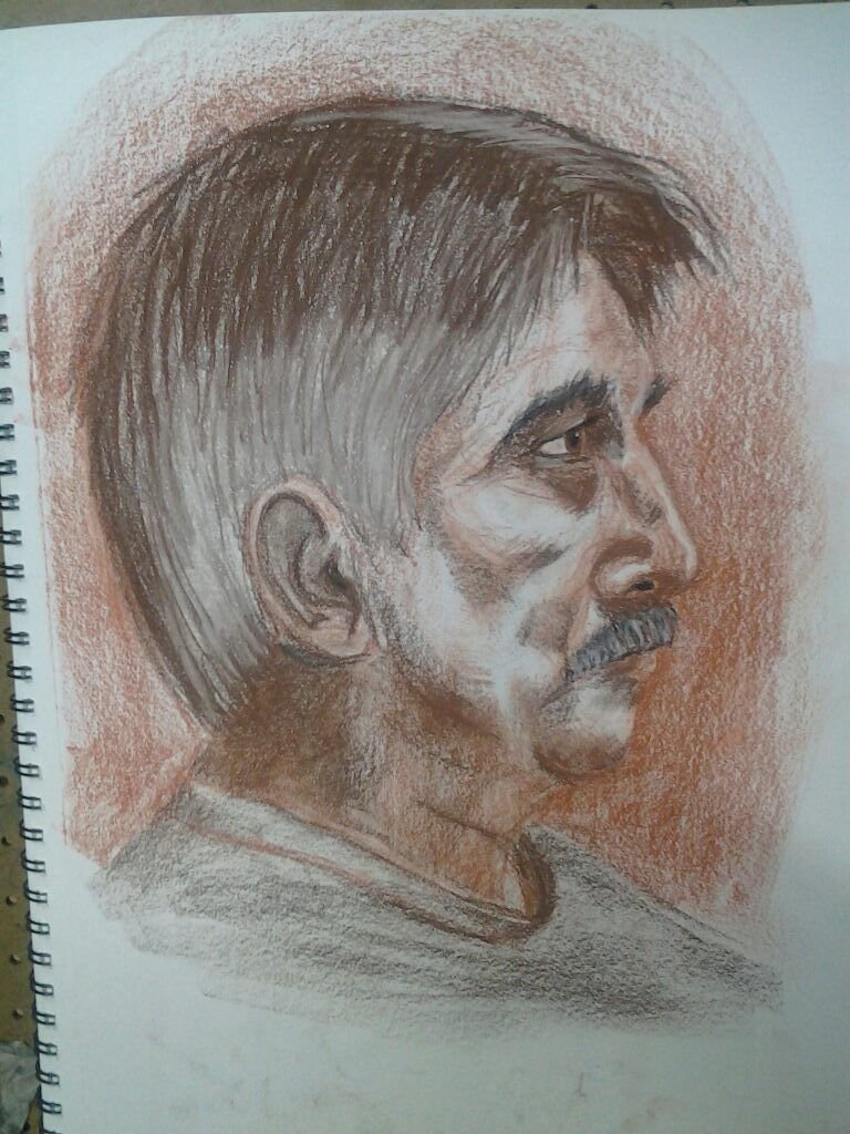 Portrait of Dennis in Conté Crayon