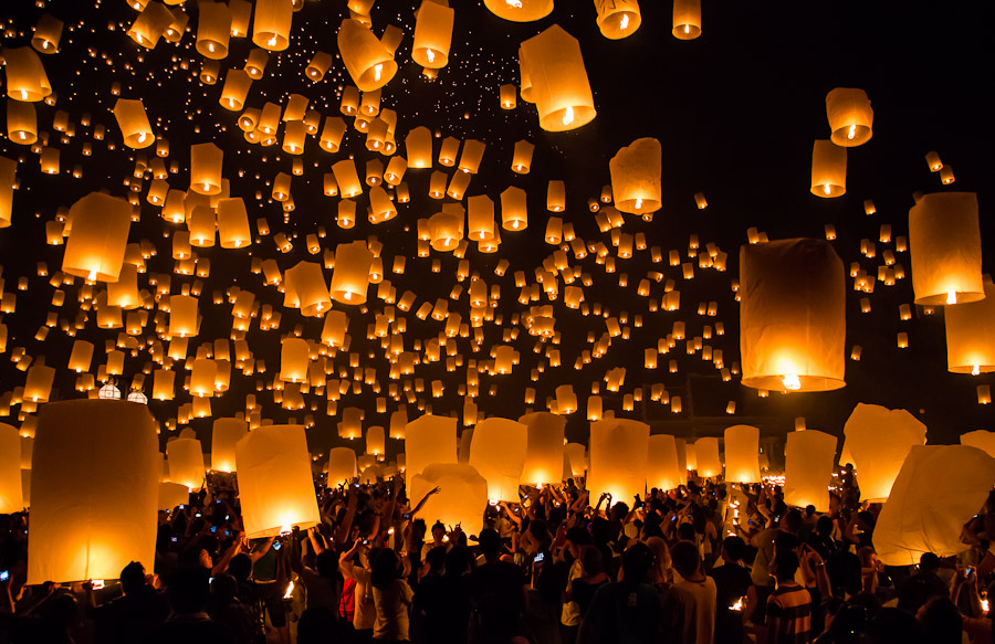 Sky lanterns in Chiang Mai. Photo courtesy of    John Shedrick   .
