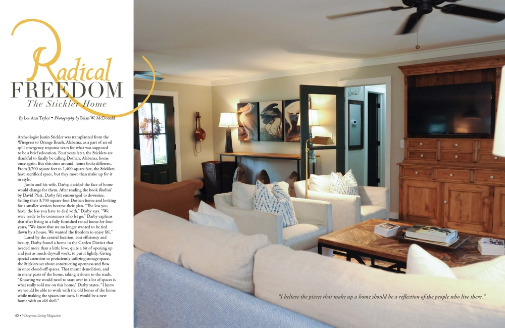 The Stickler Home, Wiregrass Living Magazine, MarchApril2016