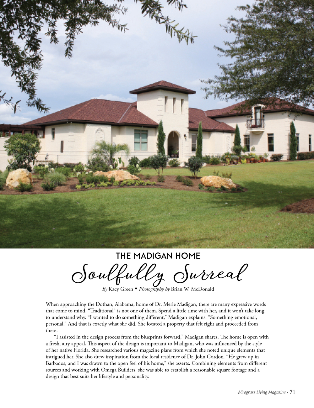 The Madigan Home, Wiregrass Living Magazine MJ16