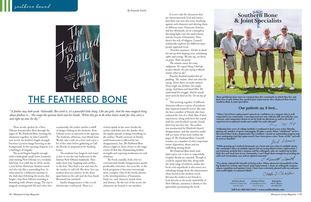 July/August 2016    The Feathered Bone    by Julie Cantrell   Reviewed by Amanda Smith
