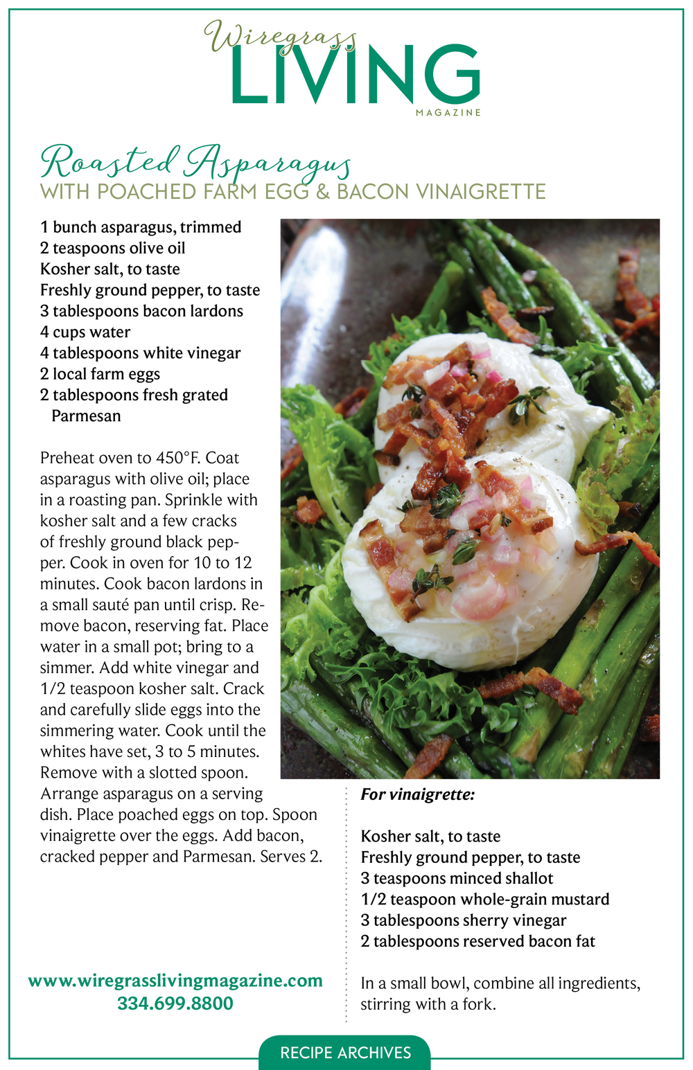 Roasted Asparagus, Wiregrass Living Magazine