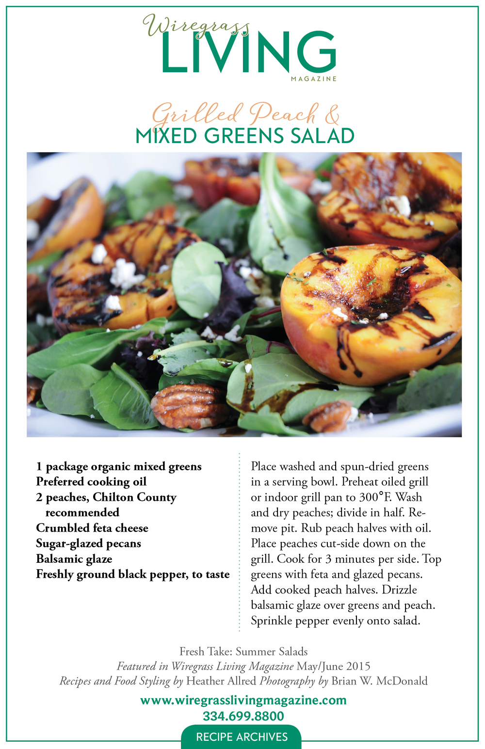 Grilled Peach & Mixed Greens Salad, Wiregrass Living Magazine
